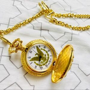 Vintage eagle gold color pocket watch with chain